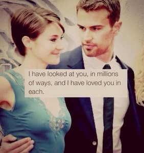 Theo looking at his lovely Divergent co-star,Shailene<3