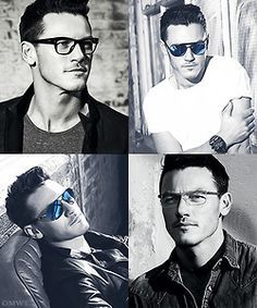 Luke Evans wearing glasses<3