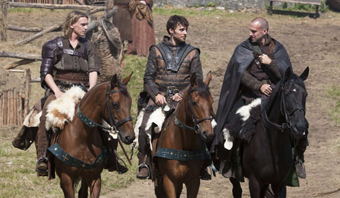 Jamie Campbell Bower,Peter Mooney and Joseph Fiennes riding on horseback through the countryside<3