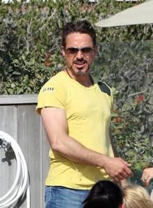 RDJ in a yellow shirt<3