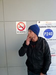 N.b. I actually had no idea that there was a 'no smoking' sign right behind me. Lol.