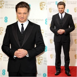 Jeremy Renner wearing black and white<3