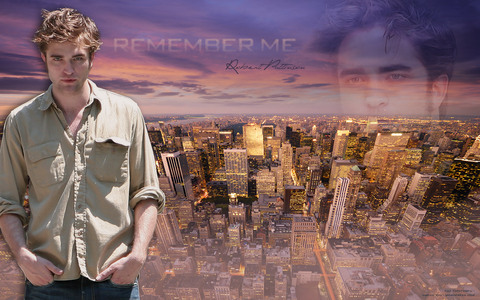 2 beautiful sceneries...Robert and the NY skyline,from Remember Me<3