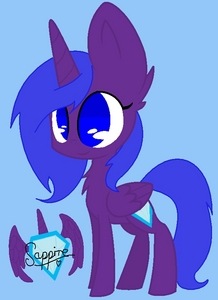 Name: Sapphire Gender: Female Cutie Mark: A light blue gem surrounded দ্বারা an aura of blue. ONE অথবা TWO Hobbies: Magic and reading. BRIEF Personality: Peppy, subdued and smiley. ONE SPECIAL fact: She can have very violent magic surges, which sends her magic out of control, making her change form and her element turns extremely powerful, but this only lasts for a short time. Picture of alicorn: (this is also my icon)