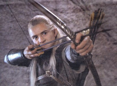 Orlando as Legolas with a bow and arrow<3