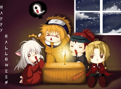 Would this count?It's InuYasha,Naruto,Renji *Bleach* and Ed from FMA! Happy Halloween!:D