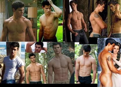 a collage of Taylor Hottner shirtless<3