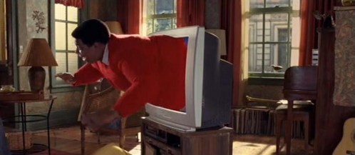 Kenan Thompson popping out of the TV set of the film, Fat Albert :)