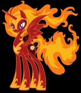 Name: Solar flare What kind of pony: Alicorn What will your cutie mark be: the sun What color will your mane be: yellow and Orange(fire colors) What will Du work at: unknown Extra: my personality is sassy and rude sometimes, and loves feuer and is a princess and my eyes are purple