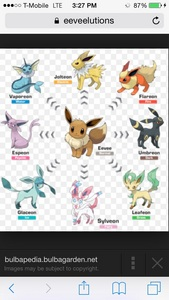 Eeveelution names vaporeon,jolteon,flareon,espeon,umbreon,glaceon,leafeon, sylveon.