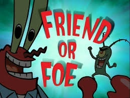 """In the episode called """"Friend of Foe"""" First mr.krabs blowing a cake, seconde plankton says """"surprise"""", third Plankton shoots a cake bomb on the safe, fourth exploded!!!!!!!,fifth plankton got the secret krabby patty formula,sixth spongebob shoot the ketchup and musdard at plankton and last the whole restaurant was ruined"""