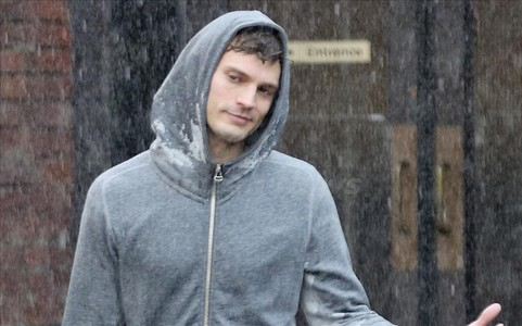 Jamie in a wet,grey hoodie<3