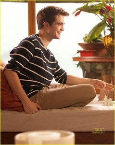 my gorgeous Rob wearing a striped shirt<3