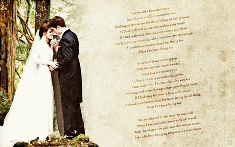 Robsten,as Edward and Bella,with the lyrics to a beautiful song,Turning Page<3