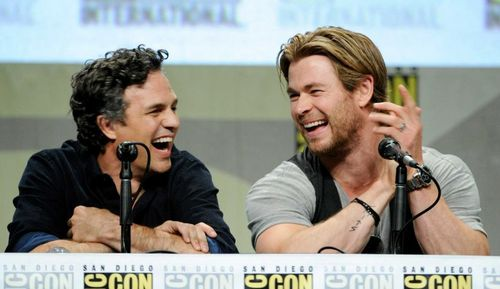 2 of the Avengers laughing<3