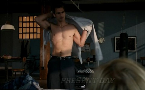 my sexy shirtless Theo with furniture around him<3