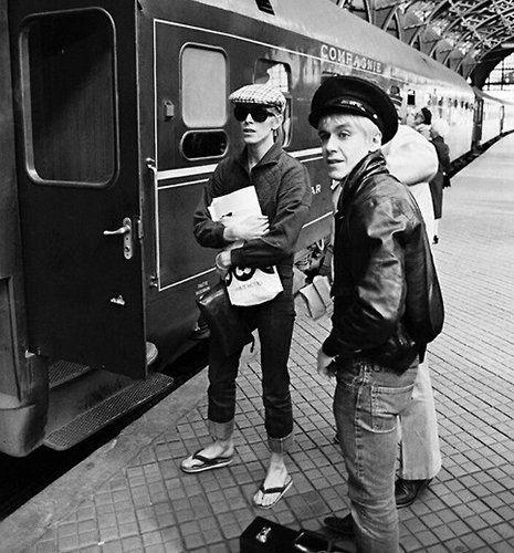 Bow and Iggy at a train station