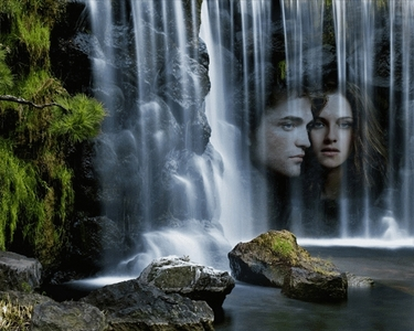 my beautiful Robsten with a waterfall<3