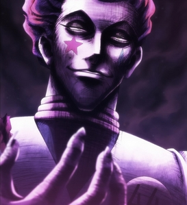 One of the many terrifying faces that Hisoka makes. Gosh, this dude is so awesome. And scary. And the greatest. Most terrifying person ever. ye.