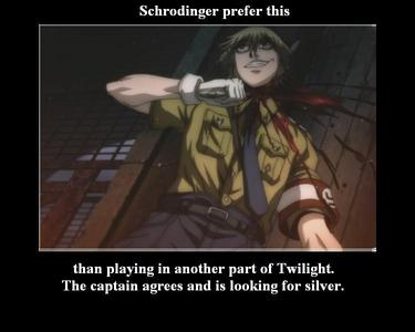 schrodinger cut his head off all the way in hellsing and fell into a pool of blood