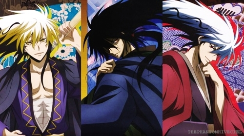Nurarihyon, Rihan Nura (1/2), and Rikuo Nura (1/4) Well TECHNICIALLY they arent because they are yokai, not demons, though since people have posted characters from Inuyasha, I say why not. XD *totally still in my Nurarihyon no Mago phase*