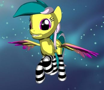 My Ponysona: A pegasus Probably a regenbogen eraser. I'd be a yellow young mare with a cyan mane with magenta streaks and magenta eyes. I am unemployed.