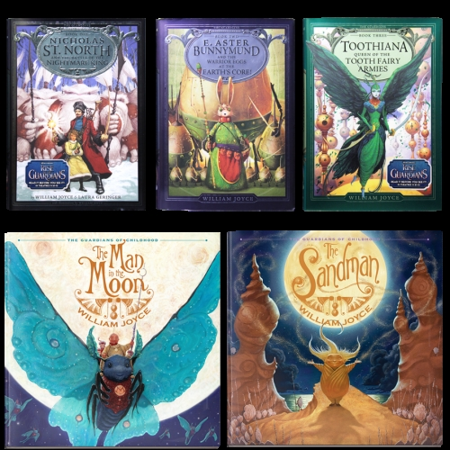 I had a hard time finding them in my area. Found them finally at Hastings (a bookstore). Look for Guardians of Childhood. I'd say they are about 120-150 pages give or take I read through them so fast it was blur how long...I enjoyed them greatly.  There are 5 books. The Man in the Moon is not one it is just a side story. The main 5 are North, Bunny, Tooth, Sandy and Jack Frost (book 5). Book 5 is not available yet....  The author left us this teaser for book 5  http://1.bp.blogspot.com/-v Aam3wYdxLk/U44w0JKkye I/AAAAAAAACPo/jwajZd2f UE4/s1600/Jack Frost_Guardians.jpg