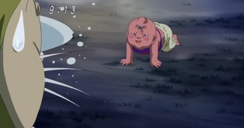 "From the 2007 anime version of ""Gegege no Kitaro."" Nezumi-Otoko (Rat-Man) found a yokai infant in a dump-truck and now takes on the task of lookin after him. After a ""bit"" trouble the little guy cause, Nezumi try to sneak away while the he's playin' with stones. But after a quick dash the infant had followed him."
