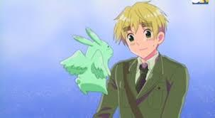 England from Hetalia. He believes in black magic, summoned Russia from the ground (Every Anime has its demon: Hetalia's is Russia. He's only scared of 2 things: England's cooking and Belarus), and his only Friends are imaginary, such as flying int bunny, shown here.