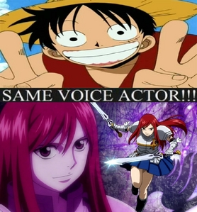 luffy from one piece and erza from fairy tail eng dub