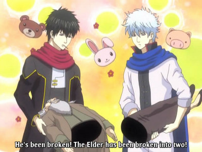 """Gintoki and Hijikata from Gintama with each half of """"The elder"""" YES! The old man is a weapon Weapon Description: """"The elder"""" is an NPC of the RPG """"Dragon hunter"""" who sends you out on your first quest. He met his un-timely demise after being used as a weapon sa pamamagitan ng Gintoki to fight ogress. He then was proceeded to be used as an sagwan to ilipat a coffin, then was split in two so Hijikata can have a weapon too as they fend off the bandits. Basically they beat up a bunch of old men with another old man XD In Gintama, everything is a weapon"""
