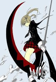Maka, from Soul Eater...OK, granted, yeah, her weapon is also her friend, Soul, but if he's a transforming-scythe-ish-thing, and if a scythe is a weapon, and Maka fights with this weapon, then it counts, am I right? :D? Am I wrong? :l? I'm wrong, aren't I?...screw it.