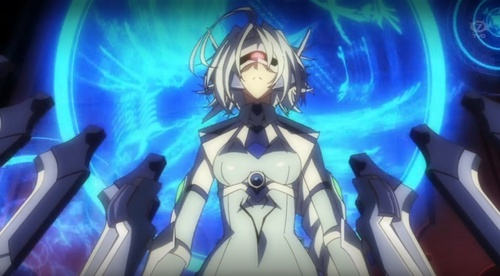Nu-13 from BlazBlue: Alter Memory. The only time she'll 显示 emotions is when Ragna is around.