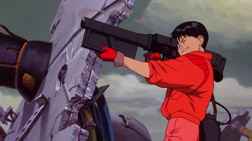 Kaneda ends up stealing a laser gun with a battery pack!
