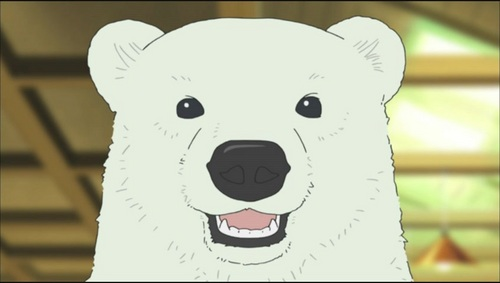 """Shirokuma (from Shirokuma cafe) I don't know, but when آپ say """"relaxing"""" only this guy comes to my mind... (if that doesn't count) my 2nd choice would be Koushiro from Digimon... but I guess that's because it just isn't his character to freak out. (yes, I mean the Japanese versions)"""