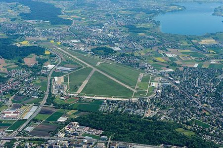 "The military airfield o the ""Bahnhof Imbiss"" in Dübendorf ZH. BTW in two weeks o so there will land a few Jets, because of some Conference in Davos. Picture: The military airfield."
