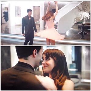 Jamie and Dakota dancing in a scene from FSOG<3