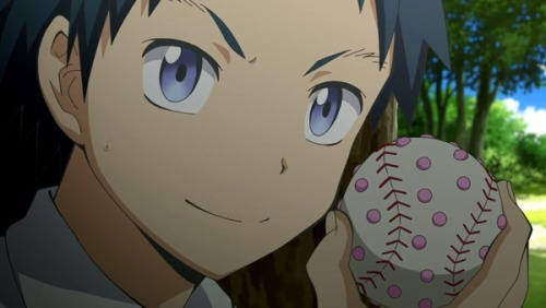 one of the students in Assassination Classroom with a baseball/grenade that launches anti-octapus bbs.