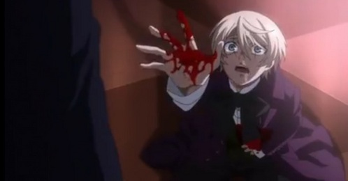 I think it was kinda sad when Ciel stabbed Alois in the stomach but Claude wouldnt help him. Yeah Alois was the bad guy, but he has good reasons for it. Watch the 秒 season of 《黑执事》 aka Black Butler to get the whole story.