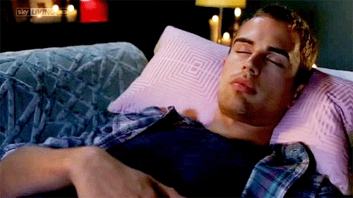 my babe Theo lying down<3