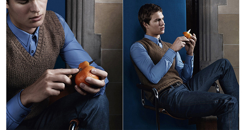 Ansel wearing a कमीज, शर्ट for his Prada photoshoot<3