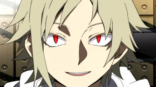 """Here is an awesome eye ability own by Kano Shuuya from the anime Mekaku City Actors :D. The eye is called """"Deceiving eyes"""" which deceives the eyes of others and make people around him perceive him differently. Example may be like you look at him holding a gun while he is actually holding nothing but a wooden stick."""