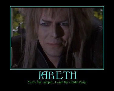 """I'd have to say Jareth from the movie labyrinth. 당신 say team Edward. I yell in your face """"TEAM JARETH!!!"""" Definitely a better 사랑 story than twilight."""
