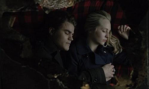Stefan with Caroline in The Vampire Diaries