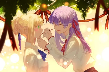 Saber with Sakura (Fate Stay Night) No this isn't a yuri picture btw.