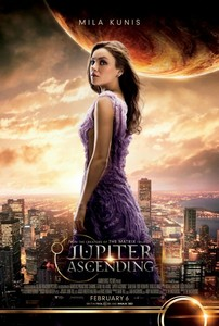 Mila Kunis on the poster for Jupiter Ascending with clouds behind her<3