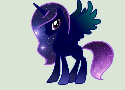 Name:Galaxy star, sterne pony type:alicorn Cutie mark: a crown with a Galaxy goung around the crown Mane color:Galaxy colors(black the dark shade of and on the tips purple with stars all over my mane and tail Skin color: dark purple Job: to protect all of equestria from any foreign creatures from the Galaxy Friends:stardust and mooncloud Where I live: I live in a schloss in equestria that was built after I saved equestria and is known as the schloss of galaxystar My story: my parents were milkyway(dad) and starnight (mom) when I was created both of my parents died because there was a big explosion of when I was created and I was the only survivor I was adopted Von royalty later on they taught me how to be a princess ,but later on did I not know that my birth parents were royalty of all equestria.Once I began to start school I met stardust and mooncloud they were really nice and yes I was a blank flank but I wasn't alone stardust and mooncloud were also blank flanks we were the last ponies to get our cutie marks.Later on after we graduate pony school we learned that we all had special jobs mooncloud controlled the phases of the moon and stardust controlled the stars and how bright each one shined and I did not know what my job was to do.After many days of wondering what my job was I figured I would take a walk into Weltraum when I was doing that I saw and alien try to fly his way to equestria ,but I stopped him before he and his buddies could I was congratulated Von the people of ponyville and Von twilight sparkle,princess luna,princess cadence,and princess celestia I knew from a then on that my job was to protect equestria from aliens from the Galaxy.