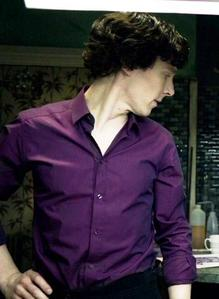 Benny in a purple shirt<3