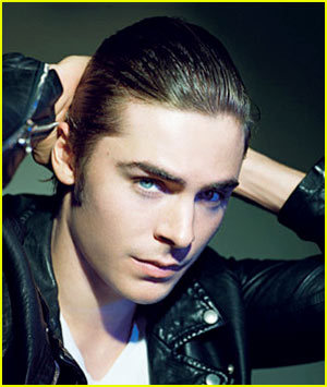 Zac with slicked back hair<3