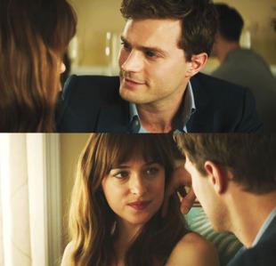 Jamie staring lovingly at Dakota Johnson in a scene from FSOG<3